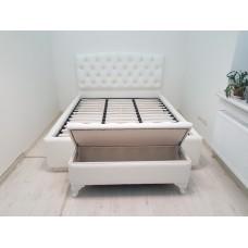 Pat dormitor alb tapitat 2 persoane M-14